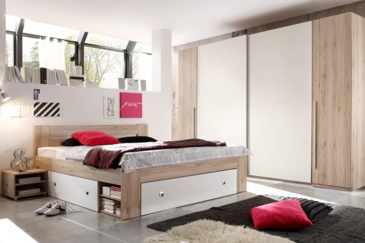 Exklusive Schlafzimmerkombination BROOKLYN 4tlg. Weiß Eiche San Remo Bett inkl Nachtkommoden & Kleiderschrank