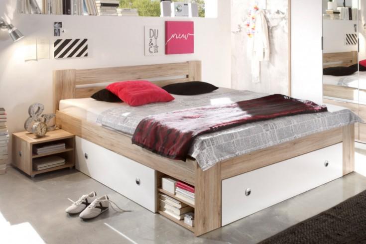 Design Doppelbett BROOKLYN 180x200 cm Weiß Eiche San Remo inkl. 2 Nachtkommoden