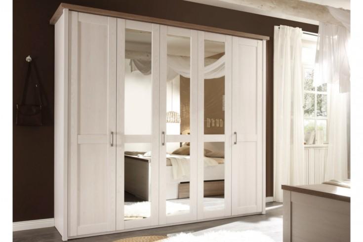 Klassischer Kleiderschrank AMSTERDAM 235cm weiß Landhausstil mit Drehtüren