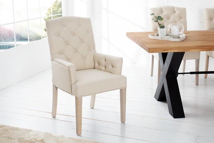 Stuhl CASTLE mit Armlehnen beige mit Chesterfield Steppung im Landhausstil