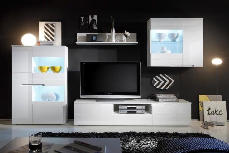 Design Wohnwand CLUB 320cm weiß Hochglanz inkl. Beleuchtung