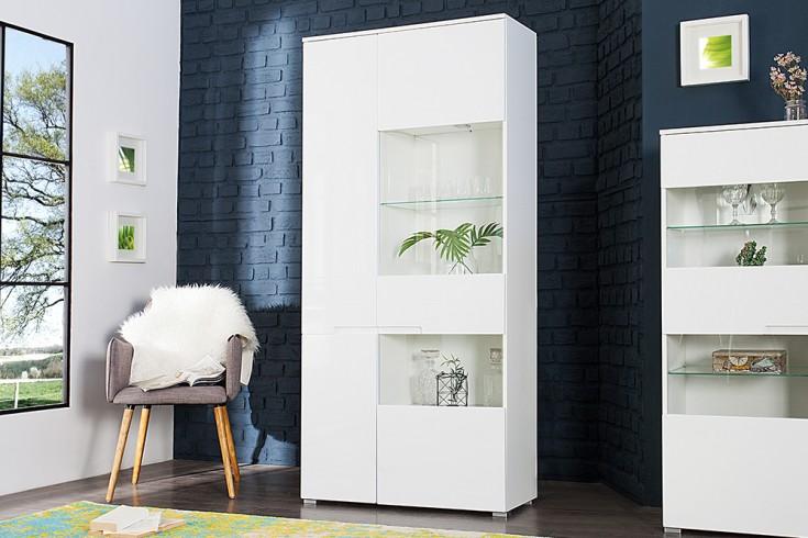 Design Vitrine CLUB 90cm weiß High Gloss inkl. Beleuchtung