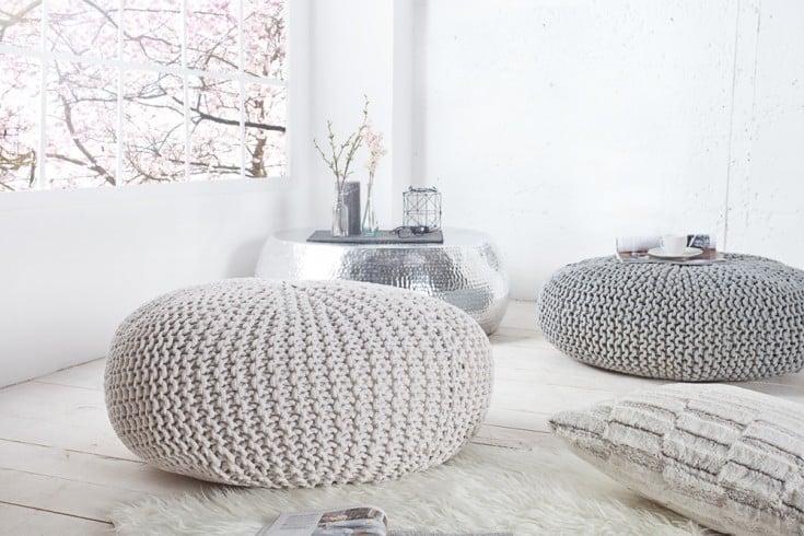 Design Strick Pouf LEEDS XXL weiß 80cm Hocker Baumwolle in Handarbeit Sitzkissen