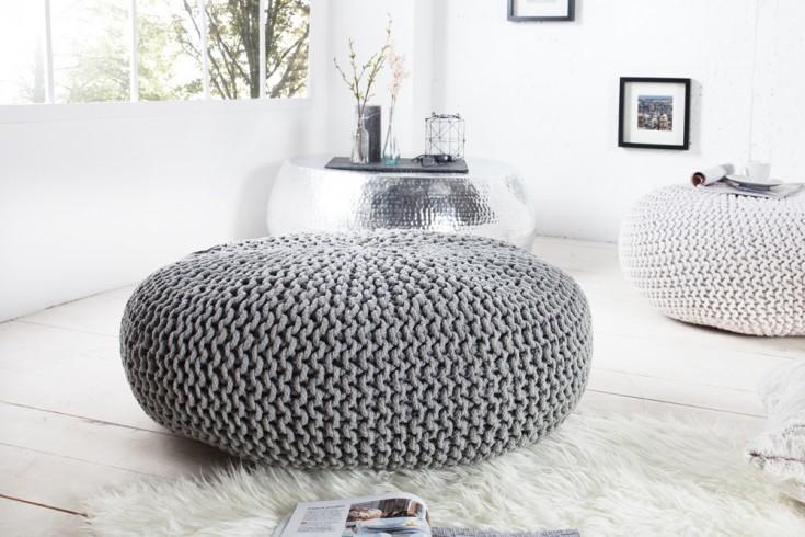 Design Strick Pouf LEEDS XXL grau 70cm Hocker Baumwolle in Handarbeit Sitzkissen