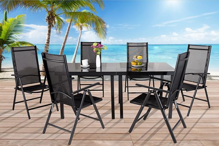 Gartenmöbel-Set PACIFIC Metall - Aluminium - Legierung 6tlg mit 2 Tischen schwarz Textillehne