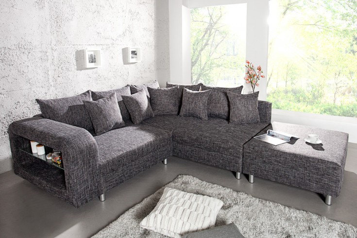 design ecksofa liberty mit hocker strukturstoff grau anthrazit mit ablagefach aus glas ot rechts. Black Bedroom Furniture Sets. Home Design Ideas