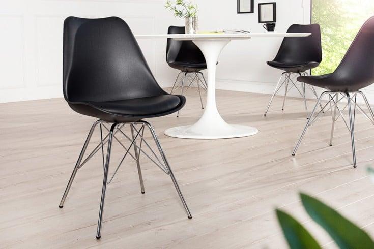 retro designklassiker stuhl scandinavia meisterst ck schwarz mit hochwertig verchromten. Black Bedroom Furniture Sets. Home Design Ideas