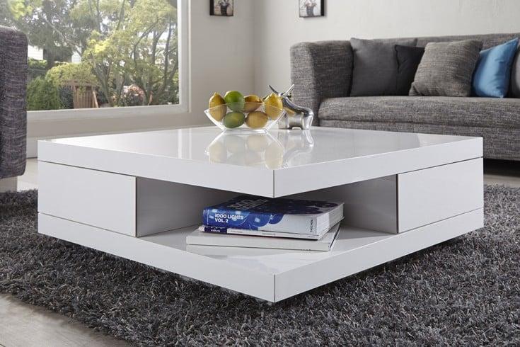 Edler Design Couchtisch FUNCTION 70cm weiß Hochglanz 2 Schubladen