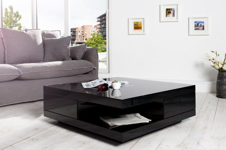 Edler Design Couchtisch FUNCTION 70cm schwarz Hochglanz 2 Schubladen