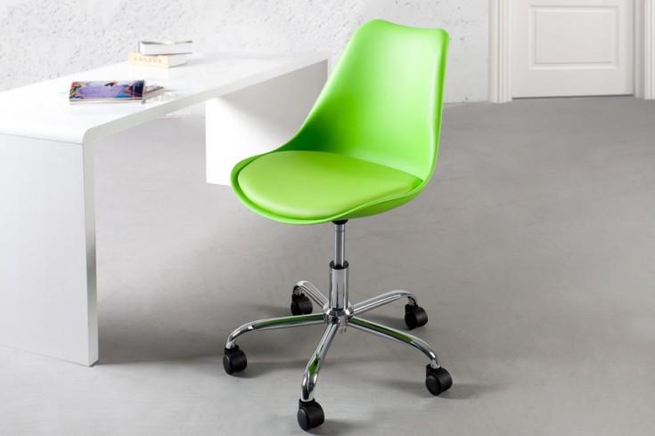 Retro Designklassiker Bürostuhl SCANDINAVIA MEISTERSTÜCK lime mit hochwertig verchromten Stuhlgestell und Rollen