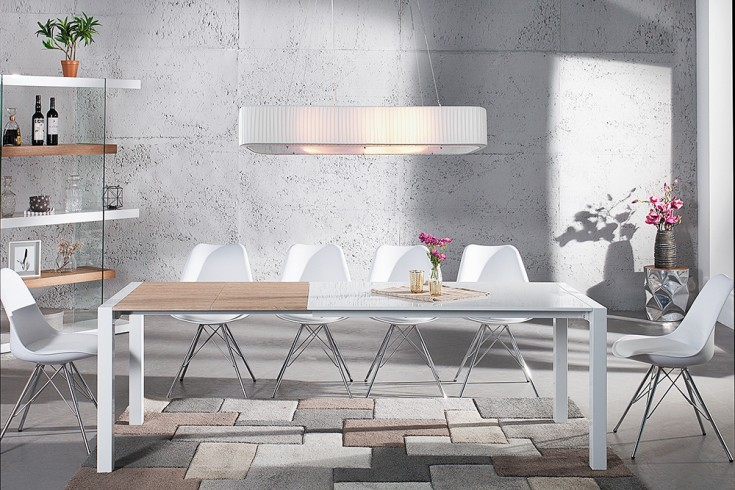 Ausziehbarer Design Esstisch X7 weiß Hochglanz - Eiche 140-215 cm