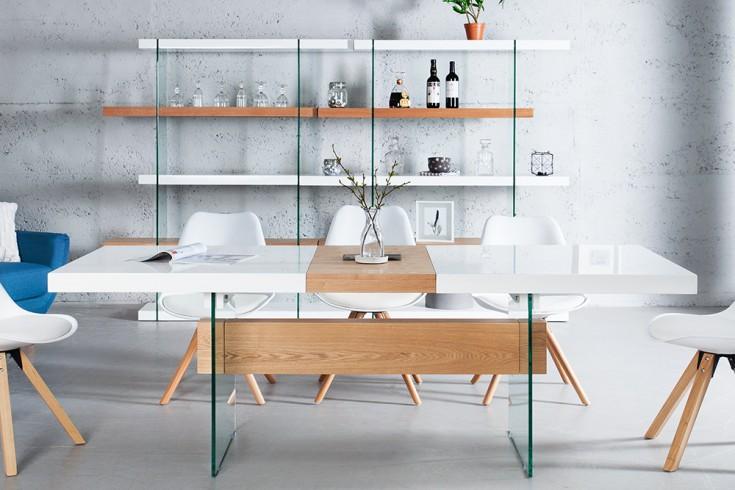 Ausziehbarer Design Esstisch ONYX weiss hochglanz Eiche 160-200 cm