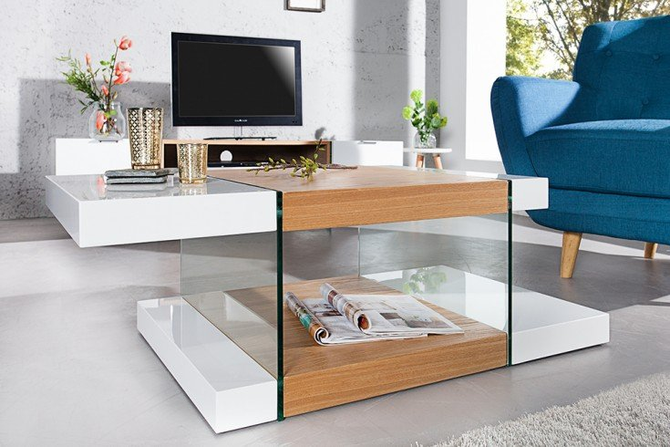Design Glas Couchtisch ONYX weiss hochglanz Eiche 110 cm