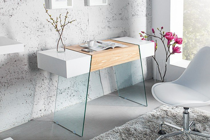 Design Konsole ONYX weiss hochglanz Glas Eiche 120 cm