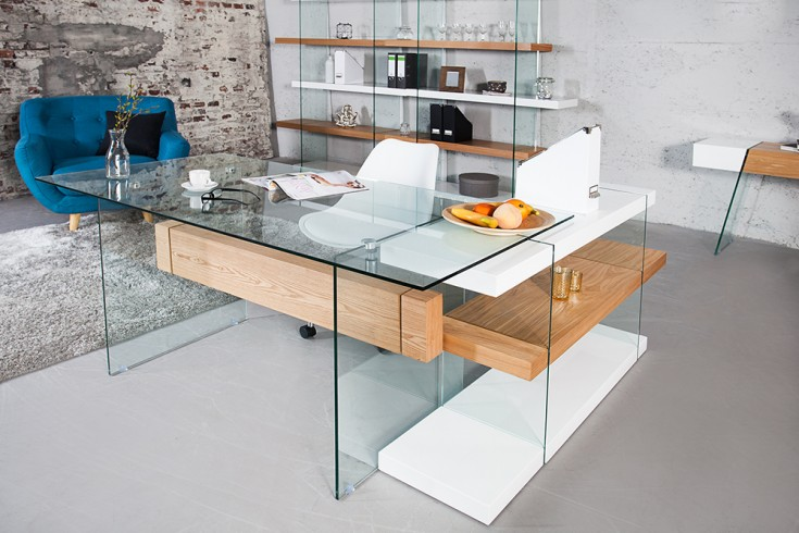 design schreibtisch onyx glas eiche 160cm riess ambiente. Black Bedroom Furniture Sets. Home Design Ideas