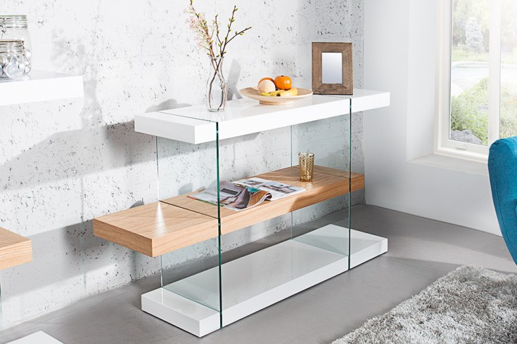 Design Regal ONYX weiss hochglanz Glas Eiche 140cm