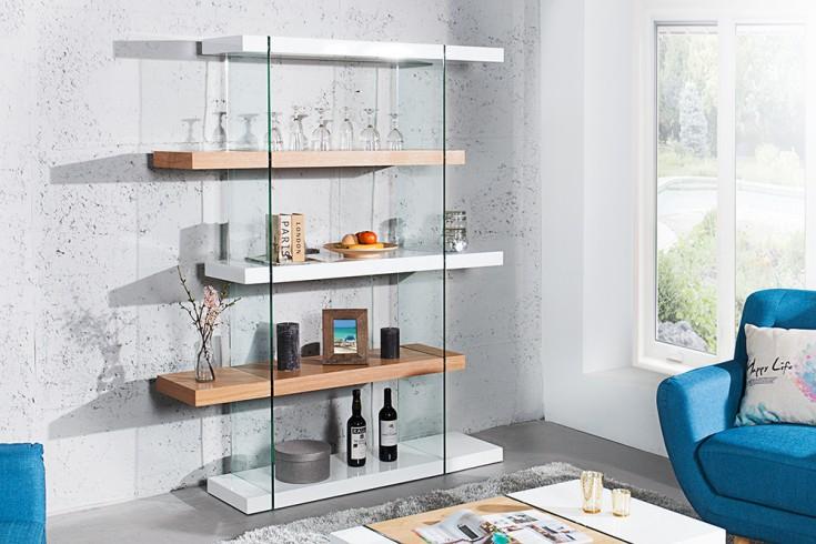 Design Regal ONYX weiß Hochglanz Eiche Glas Schrank 180 cm