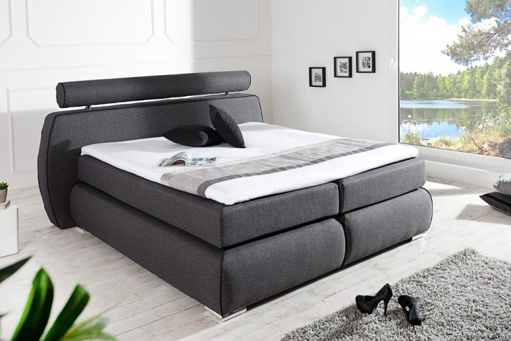 modernes boxspringbett space 180x200 cm anthrazit strukturstoff inkl matratze und topper. Black Bedroom Furniture Sets. Home Design Ideas