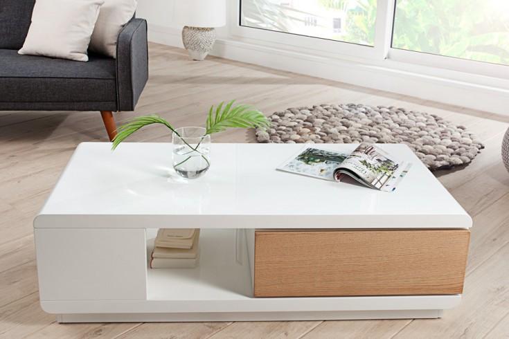 Moderner Design Couchtisch FORTUNA hochglanz weiß Echtholz Eiche ...