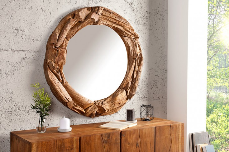 massiver treibholz spiegel tribe 50 cm aus recyceltem teakholz rund riess. Black Bedroom Furniture Sets. Home Design Ideas