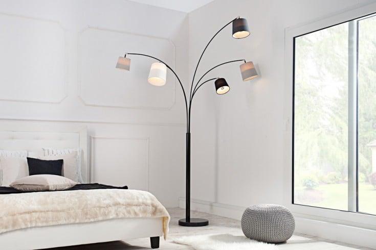 Design Bogenlampe LEVELS 200cm schwarz grau 5 Leinen Schirmen Stehlampe