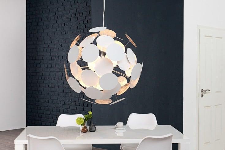 Moderne Design Hängeleuchte INFINITY HOME 70cm weiß silber Pendelleuchte