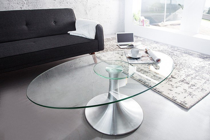 stilvoller couchtisch circular aluminium glas 110cm. Black Bedroom Furniture Sets. Home Design Ideas