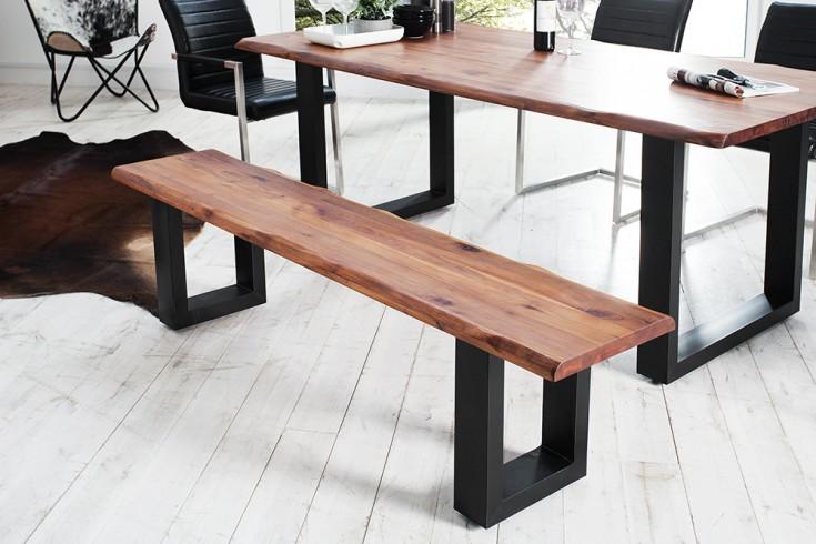 massive baumstamm bank genesis 180cm akazie massivholz baumkante sitzbank mit kufengestell. Black Bedroom Furniture Sets. Home Design Ideas