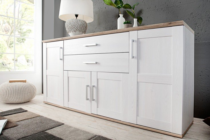 Klassisches Design Sideboard NOTTING HILL 185cm weiss San Remo hell