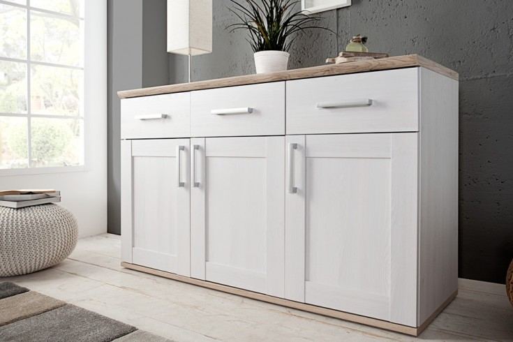 Klassisches Design Sideboard NOTTING HILL 140cm weiss San Remo hell