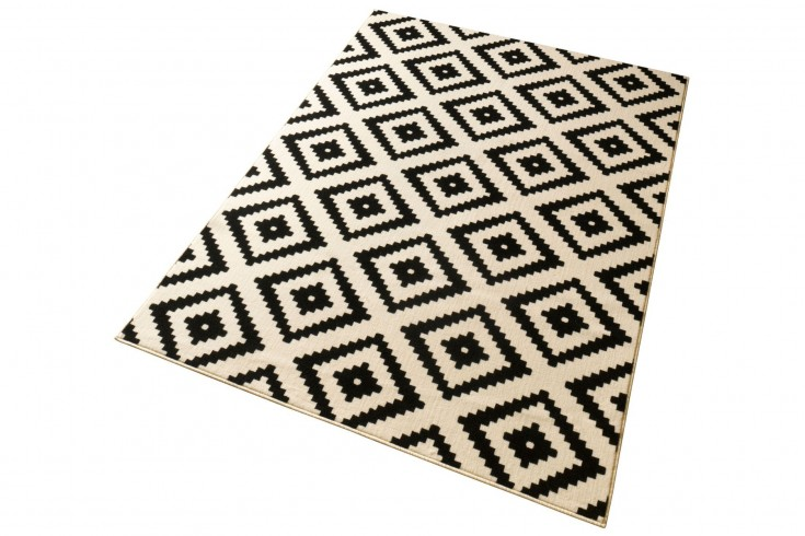 Ethno Design Teppich DEKOR 160x230 cm mit Rautenmuster Schwarz Beige