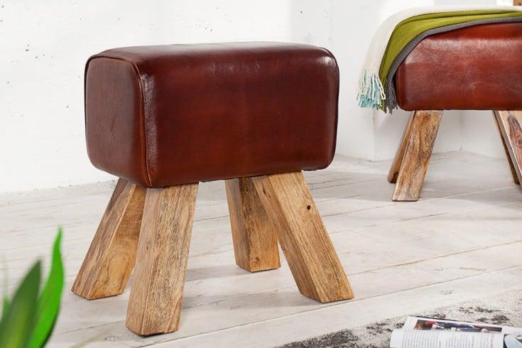 Retro Sitzhocker TURNBOCK 40cm mit Echtleder Bezug Mangoholz Hocker