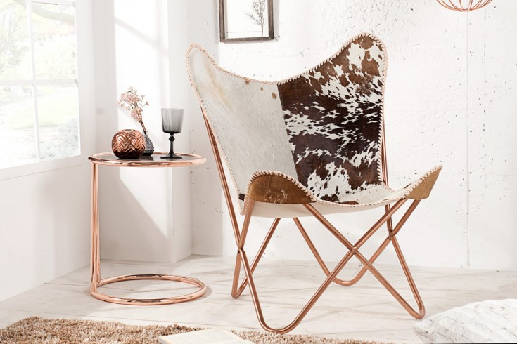 Designklassiker Lounge Sessel BUTTERFLY Echtfell braun weiß Kupfergestell