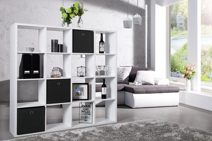 modernes design regal square 140cm weiss raumteiler 16 offene f cher riess. Black Bedroom Furniture Sets. Home Design Ideas