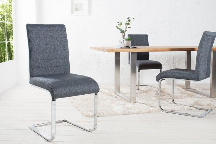 Design Freischwinger Stuhl STUART grau Flachstahl Strukturstoff