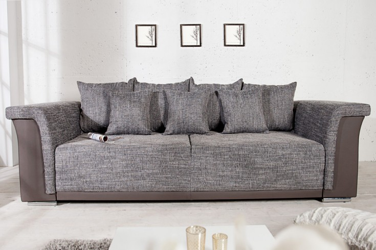 design big xl sofa bellina hellgrau strukturstoff charcoal schlaffunktion federkern riess. Black Bedroom Furniture Sets. Home Design Ideas