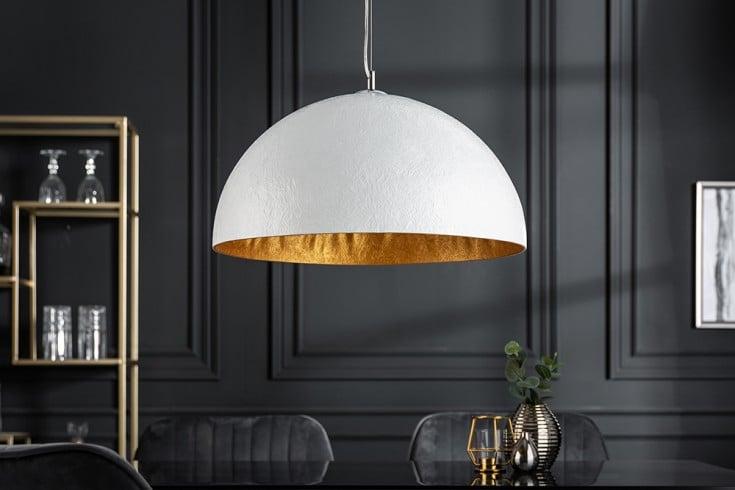 Elegante Design Hängeleuchte GLOW 50cm weiß gold Hängelampe