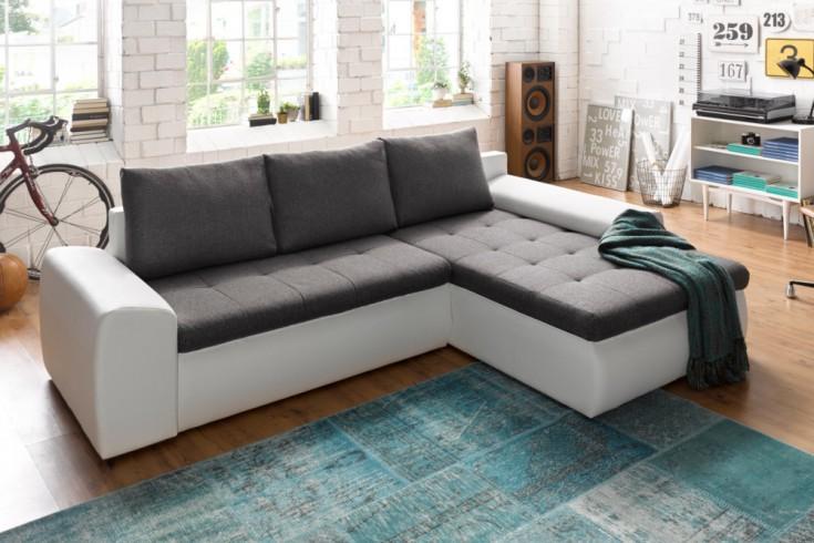 Design Ecksofa VERMONT Strukturstoff in grau und weiß inkl. Bettkasten, Bettfunktion OT rechts