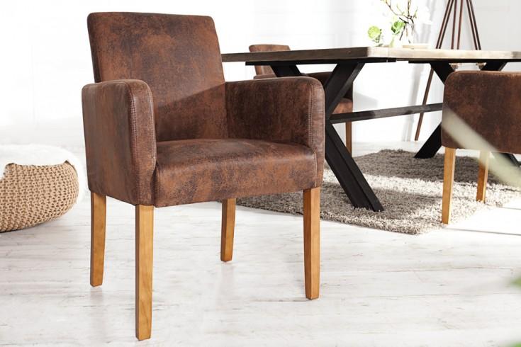 Design Armlehnen Stuhl CASA vintage braun Massivholzbeine