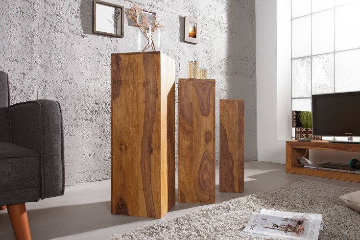 Design Beistelltisch Säule MAKASSAR 3er Set 80cm/70cm/60cm hoch Sheesham Stone Finish