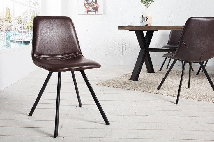 retro stuhl amsterdam chair braun designklassiker antik look sternf rmiges gestell riess. Black Bedroom Furniture Sets. Home Design Ideas