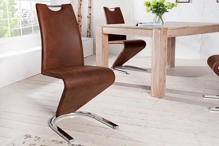 Hochwertiger Freischwinger Stuhl AMADO Original MCA antik braun im außergewöhnlichem Z-Design