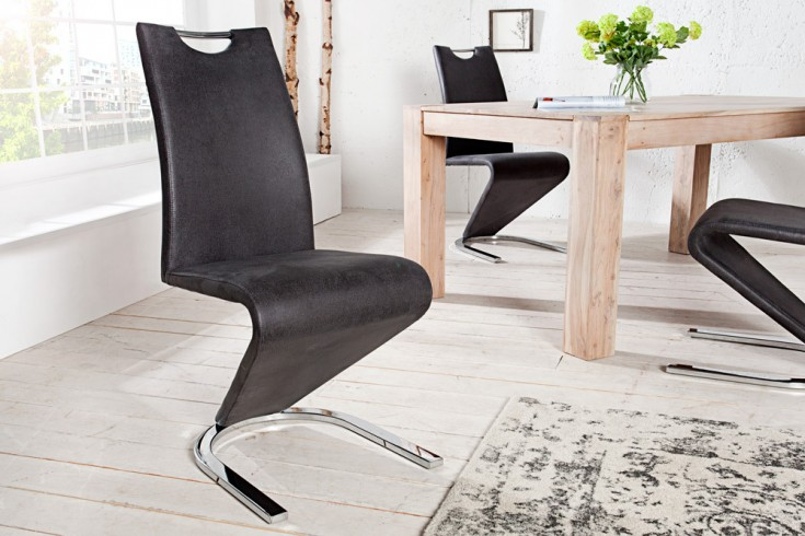 Hochwertiger Freischwinger Stuhl AMADO Original MCA antik grau im außergewöhnlichem Z-Design