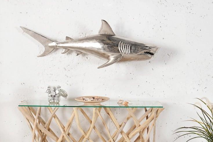Wanddekoration großer Hai aus Metall - Aluminium - Legierung 105cm/ rechts