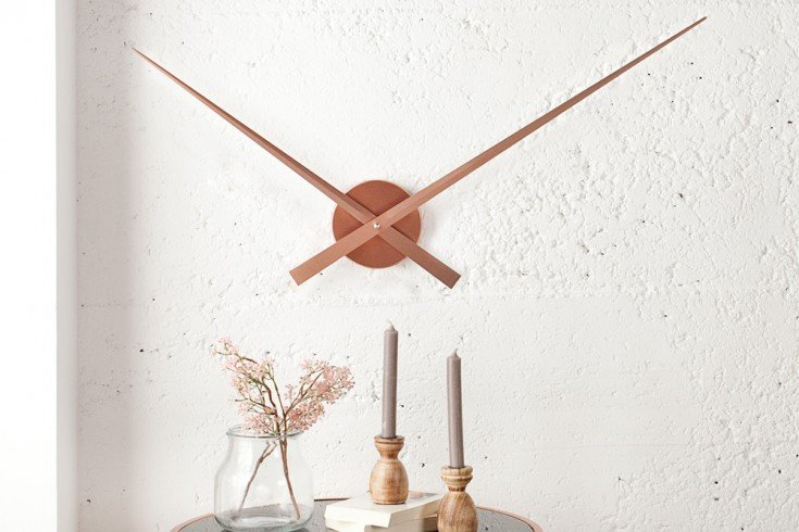 Riesige Design Wanduhr SIMPLE TIME kupfer 80cm
