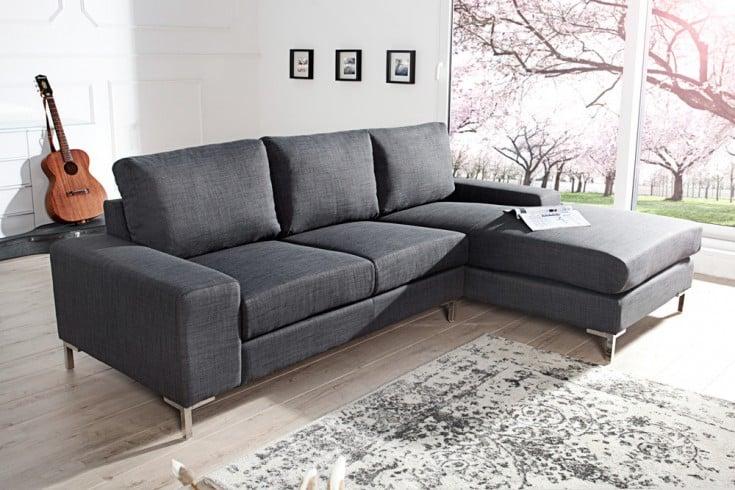 modernes design ecksofa milano strukturstoff grau mit. Black Bedroom Furniture Sets. Home Design Ideas