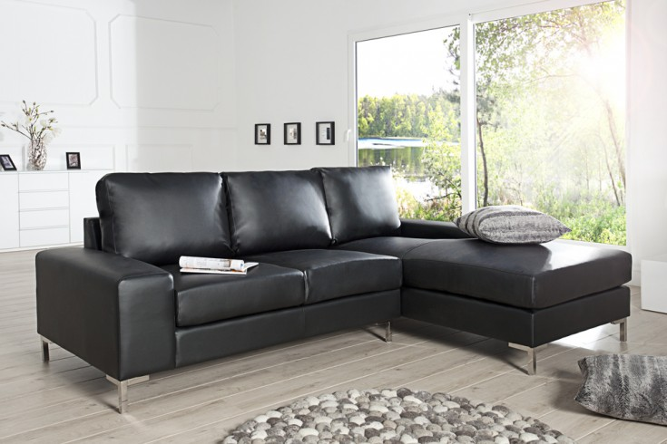 modernes design ecksofa milano schwarz ot rechts riess. Black Bedroom Furniture Sets. Home Design Ideas