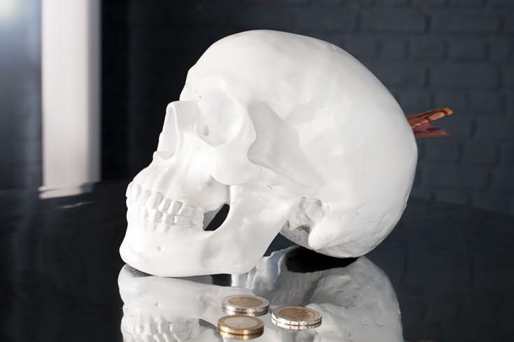 Design Spardose SKULL weiß 20cm Schädel Totenkopf Dekoration