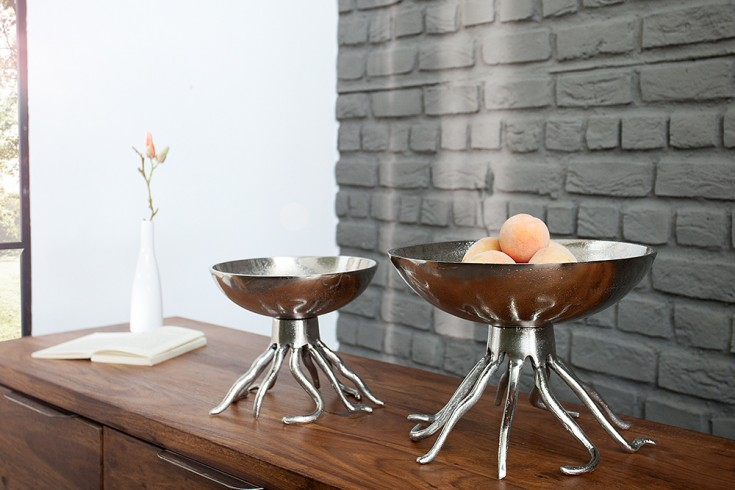 Monumentale Designer Schale OCTOPUS 30cm antik silber Handarbeit aus stabiler Metall-Aluminium-Legierung