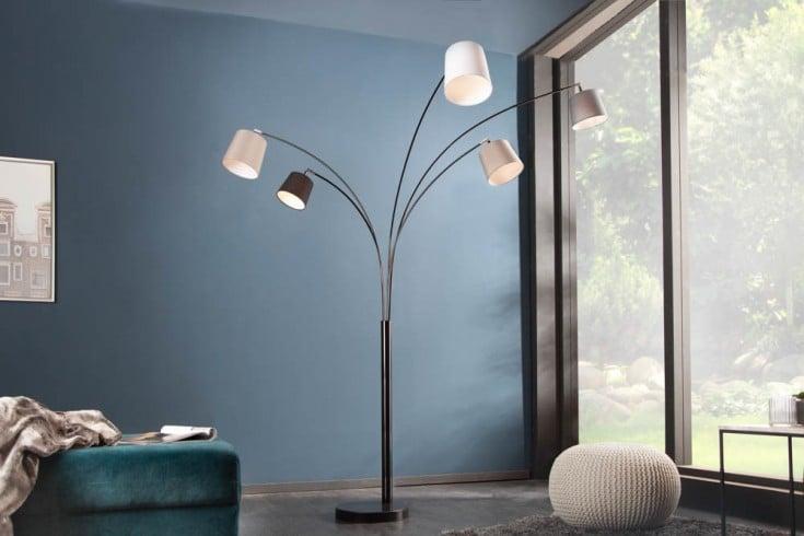 Design Bogenlampe LEVELS 205cm schwarz grau 5 Leinenschirme Stehlampe